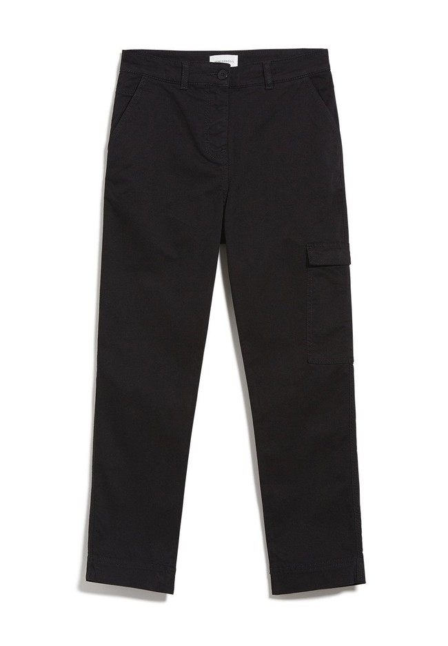 Pantalon cargo noir en coton bio - virginiaa - Armedangels num 4