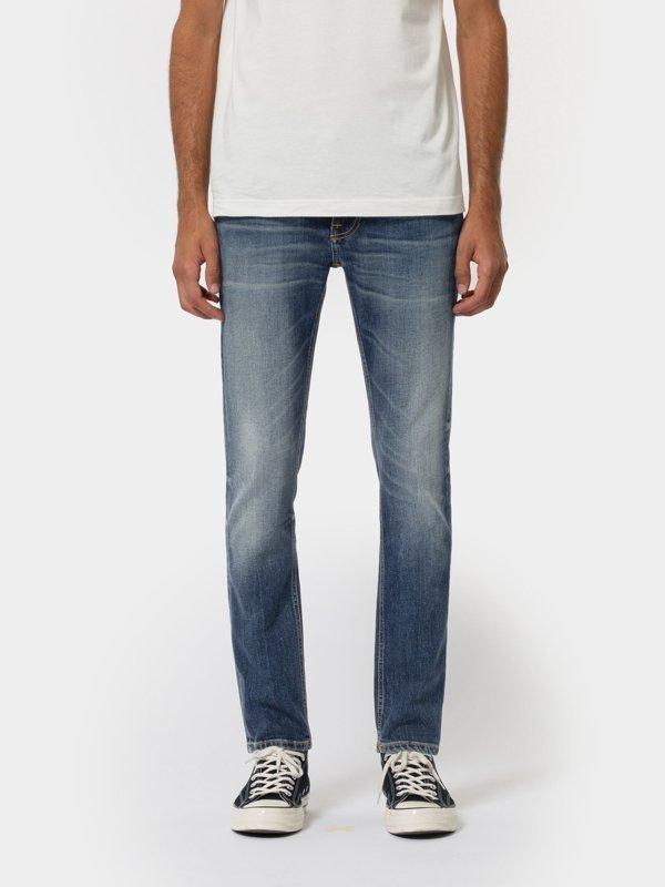 Jean slim indigo délavé en coton bio - lean dean indigo shades - Nudie Jeans