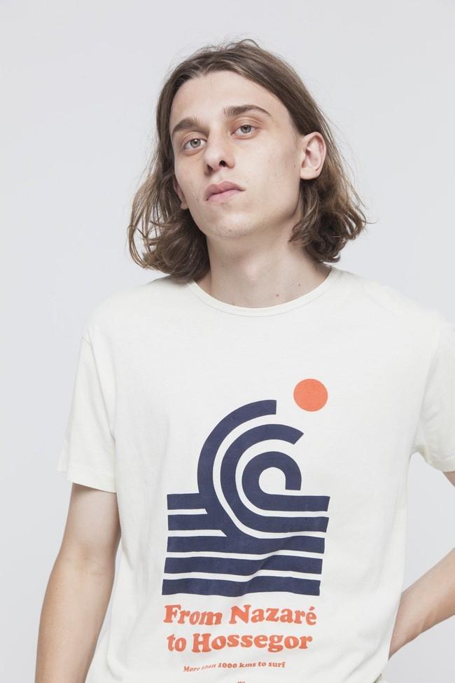 T-shirt imprimé blanc en coton bio - 1000 km to surf - Thinking Mu num 1
