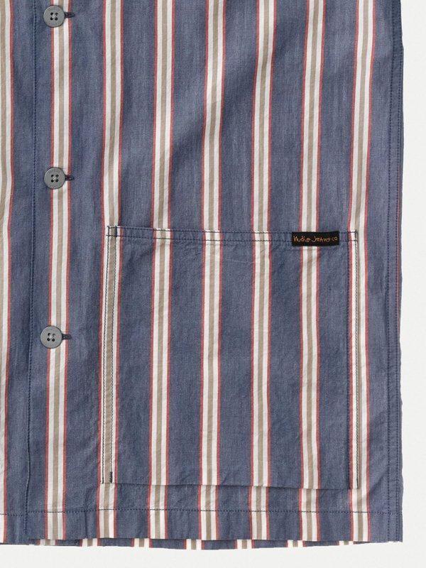 Chemise manches courtes rayée en coton bio - svante cuban - Nudie Jeans num 6