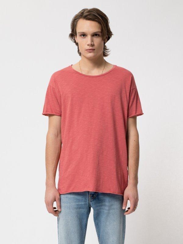 T-shirt corail en coton bio - roger - Nudie Jeans