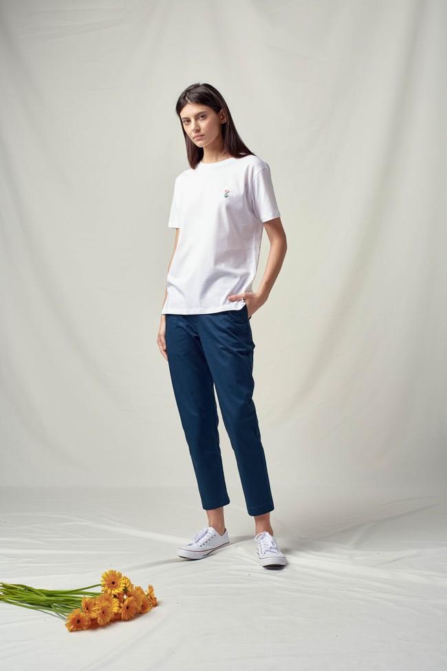 T-shirt coton bio broderie main flower - Noyoco