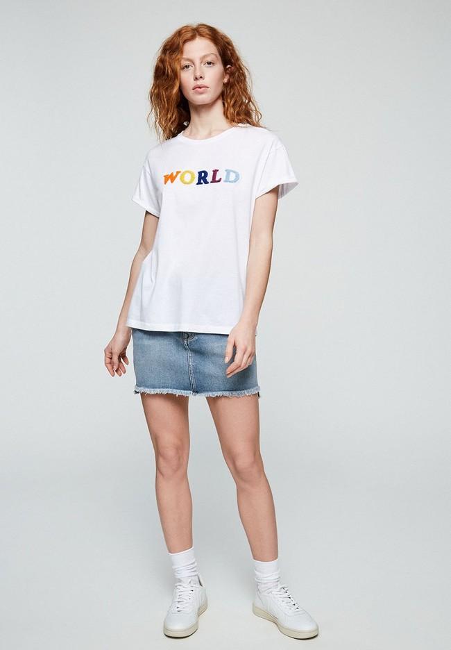 T-shirt avec imprimé blanc en coton bio - naalin world - Armedangels num 1