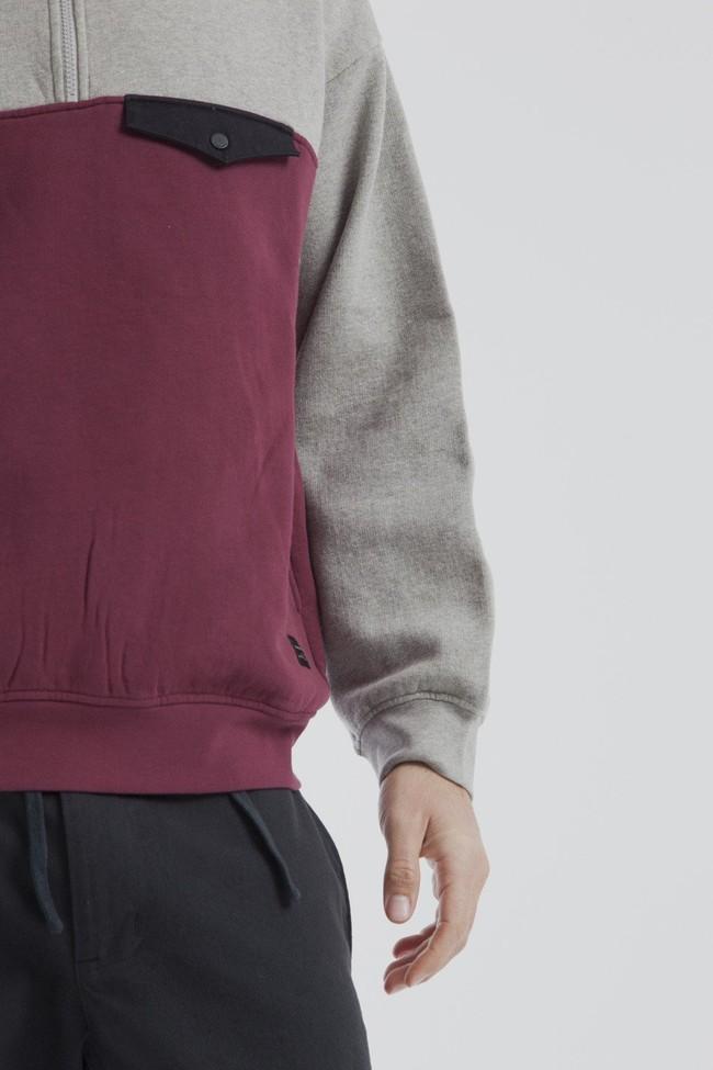 Sweat col zippé bicolore en coton bio - challenger - Thinking Mu num 3