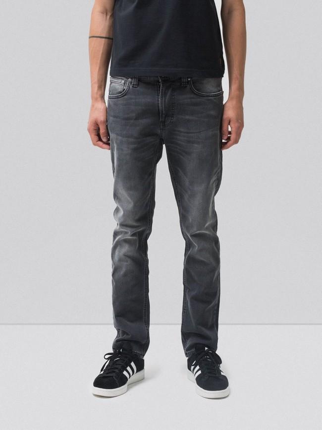 Jean slim gris délavé en coton bio - lean dean mono grey - Nudie Jeans
