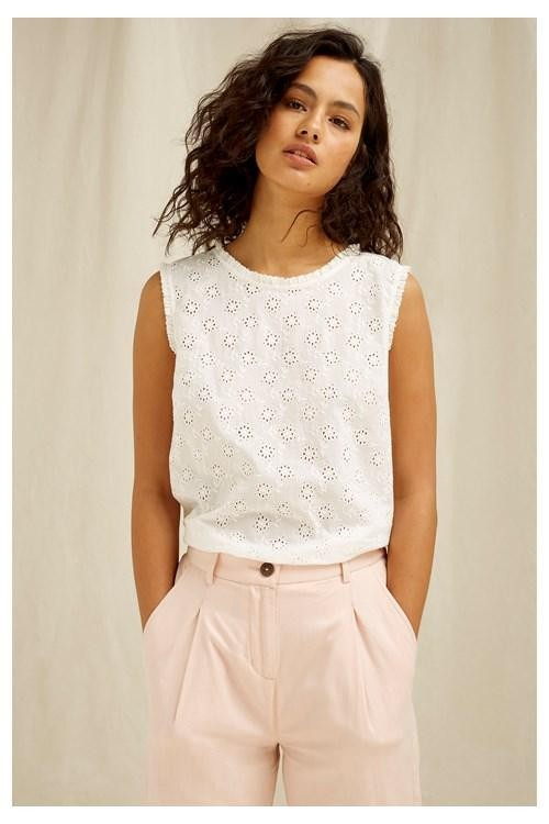 T-shirt sans manches blanc motifs broderie - katrina - People Tree num 4