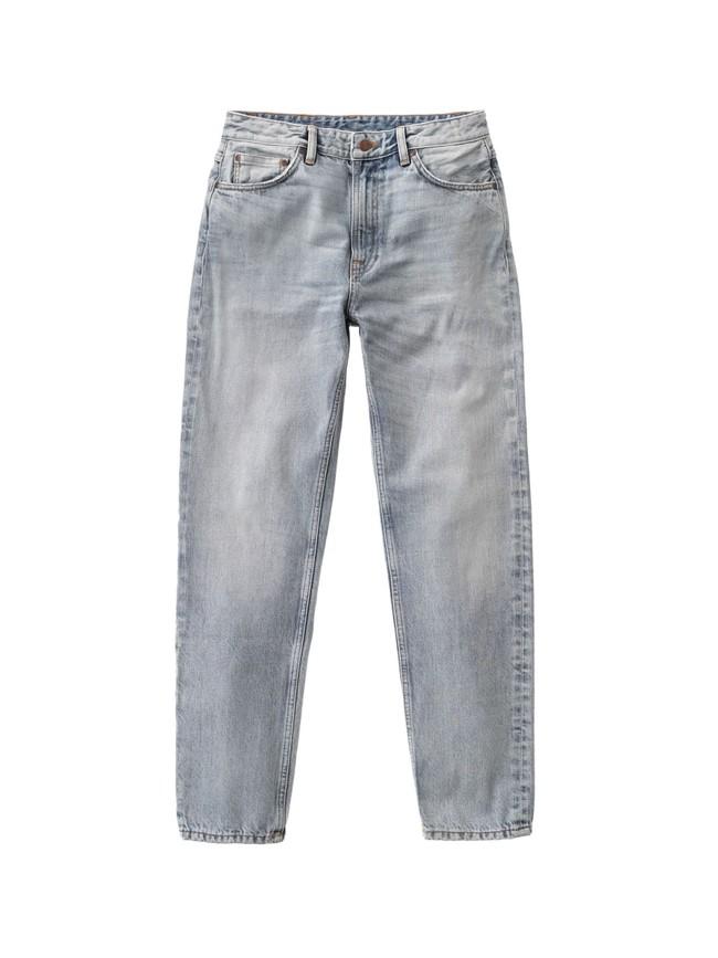 Jean mom gris clair délavé en coton bio - breezy britt light desert - Nudie Jeans num 5