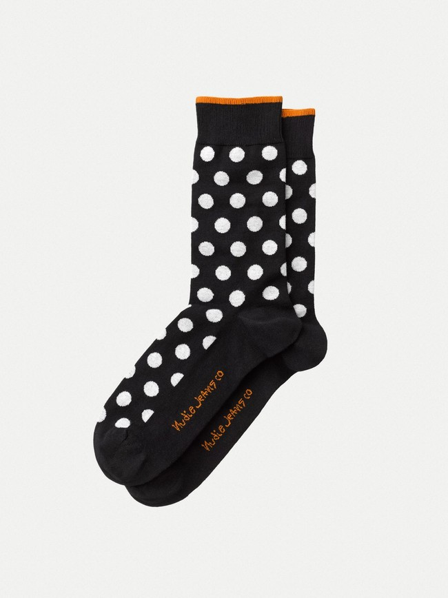 Chaussettes hautes à pois noires en coton bio - olsson - Nudie Jeans