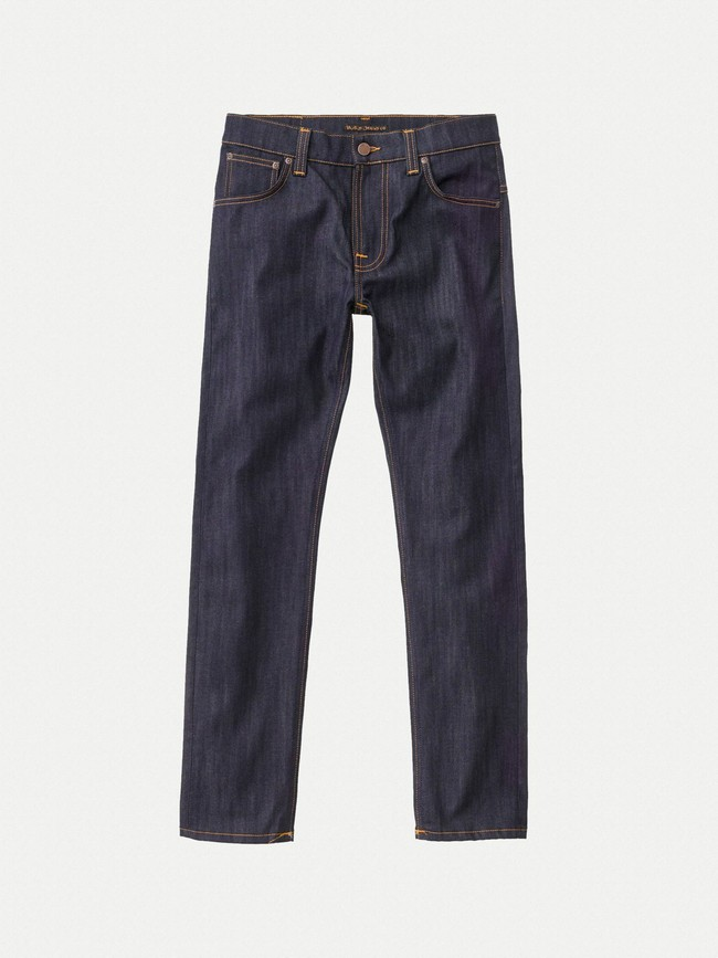 Jean slim brut en coton bio - thin finn dry ecru embo - Nudie Jeans num 6
