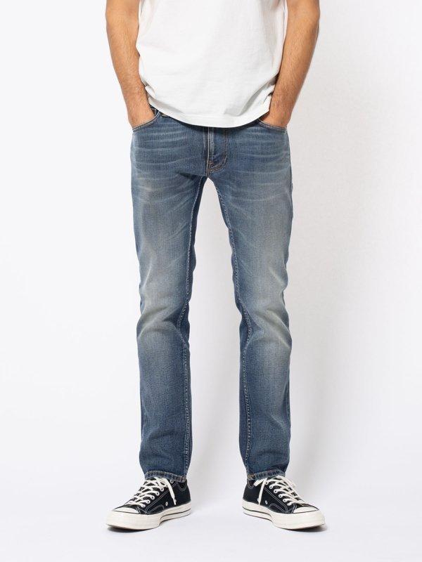 Jean bleu délavé en coton bio - thin finn blue temple - Nudie Jeans num 5