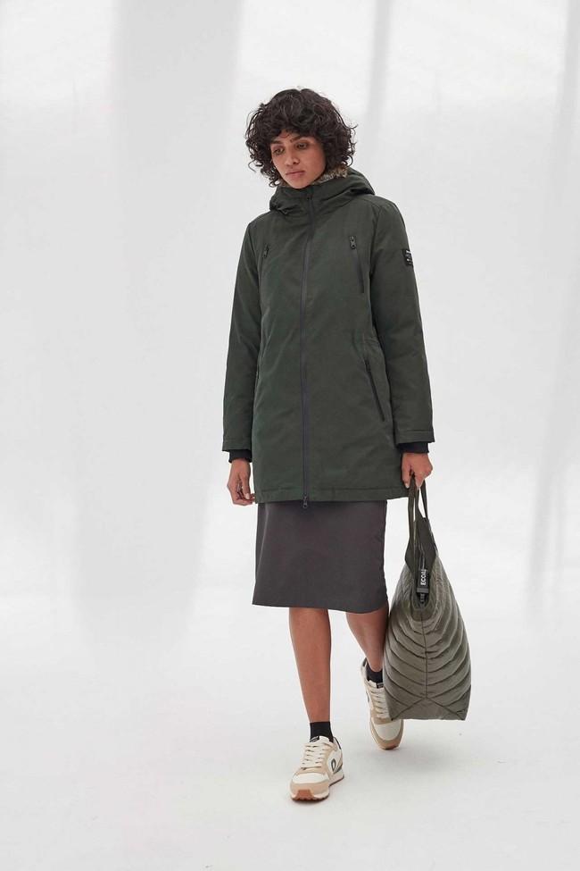 Manteau long vert en polyester recyclé - livorno - Ecoalf