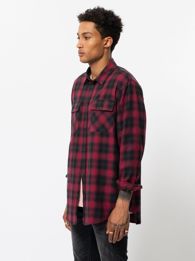 Chemise à carreaux rouge et noir - gabriel - Nudie Jeans num 2