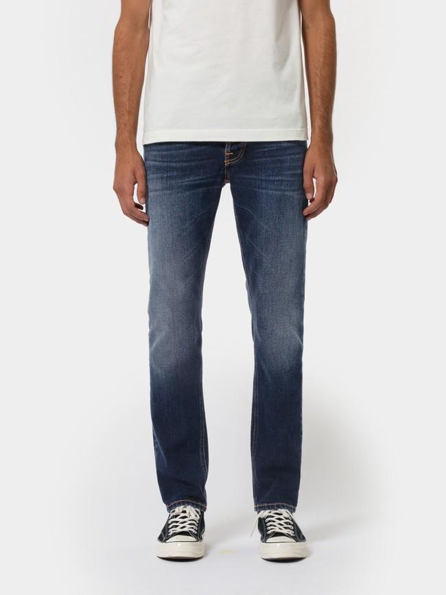 Jean droit bleu foncé en coton bio - grim tim ink navy - Nudie Jeans