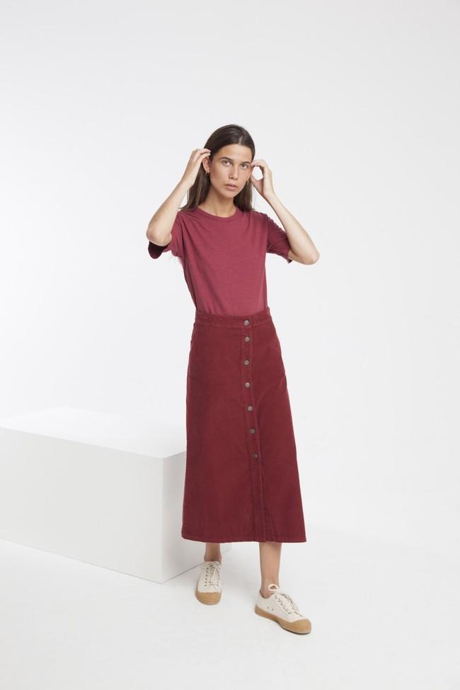 Jupe longue rouge bordeaux coton bio - Thinking Mu