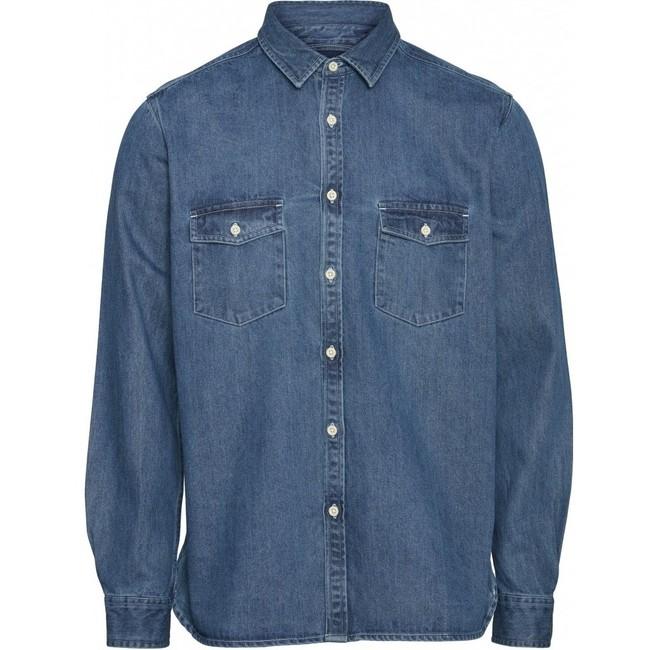 Chemise bleu jean en coton bio - larch - Knowledge Cotton Apparel