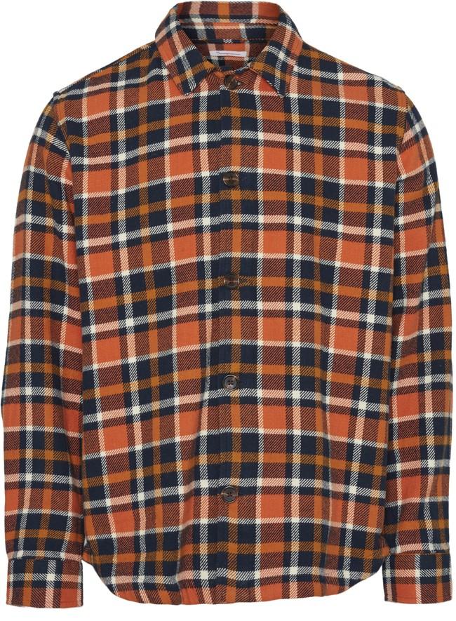 Surchemise à carreaux orange et marron en coton bio - pine - Knowledge Cotton Apparel