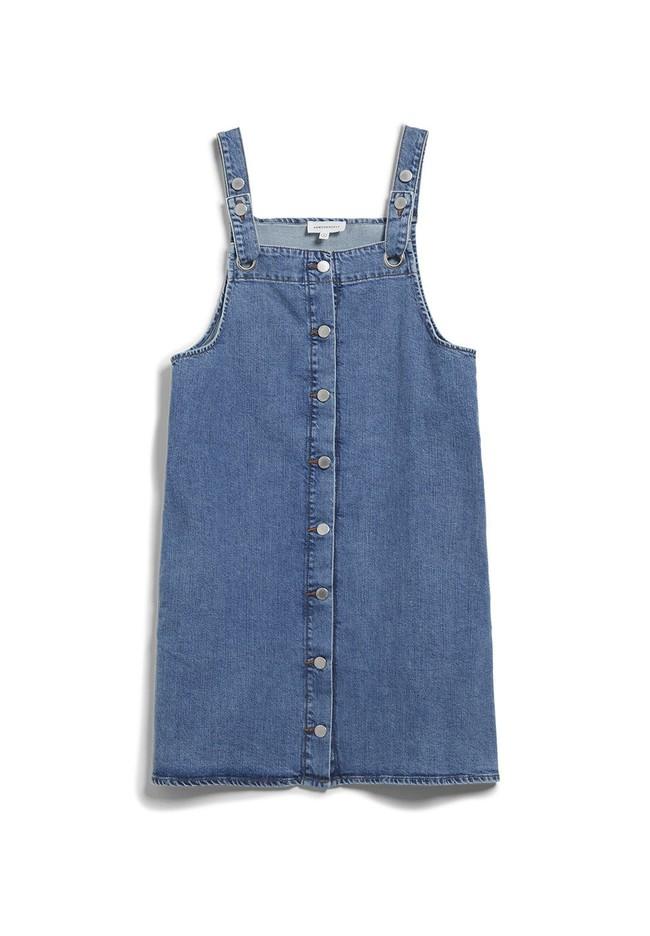 Robe salopette en jean bleu en coton bio - dainaa - Armedangels num 4
