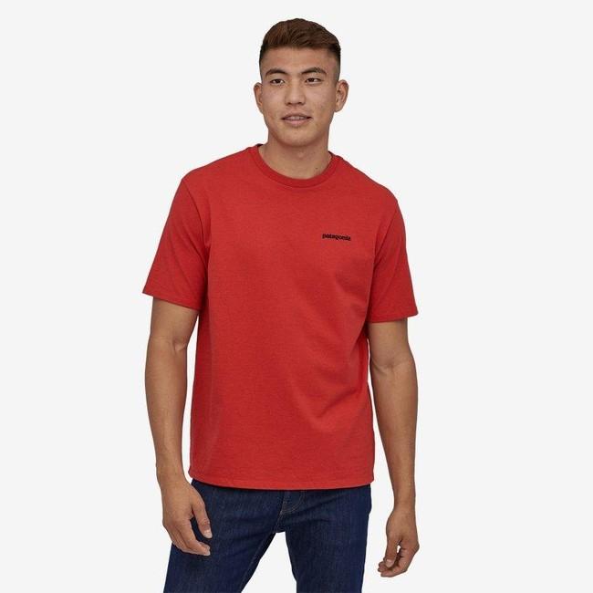 T-shirt imprimé rouge en coton et polyester recyclés - p6 logo responsibili-tee - Patagonia num 2
