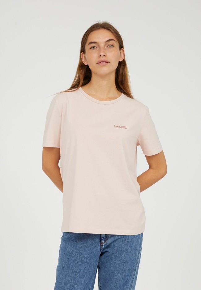 T-shirt brodé rose pâle en coton bio - maraa mindset - Armedangels