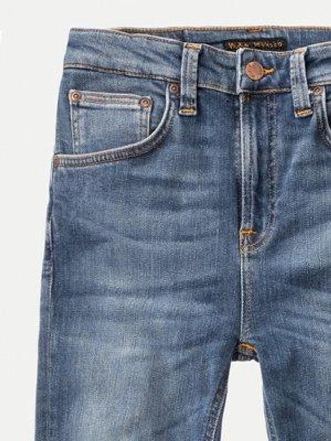 Jean skinny taille haute bleu clair délavé - hightop tilde mid indigo - Nudie Jeans num 3