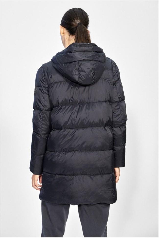 Doudoune longue à capuche noire en polyester recyclé - marangu - Ecoalf num 2