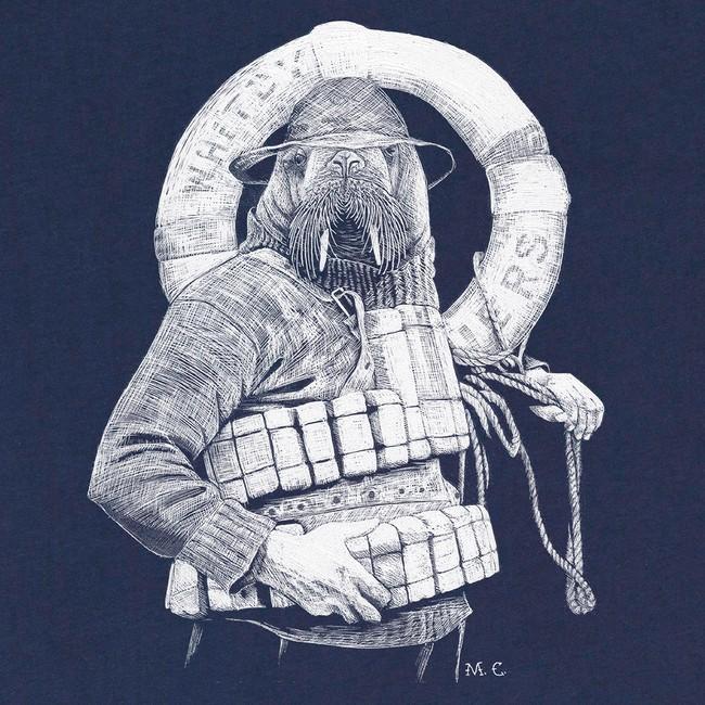 T-shirt en coton bio navy walrus - Bask in the Sun num 2