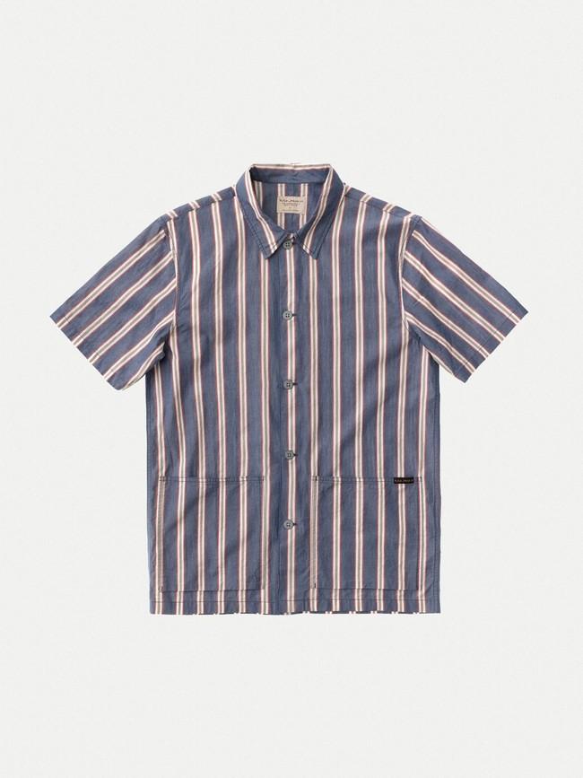 Chemise manches courtes rayée en coton bio - svante cuban - Nudie Jeans num 4