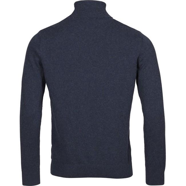 Pull à col roulé bleu en coton bio et cachemire - roll neck - Knowledge Cotton Apparel num 1