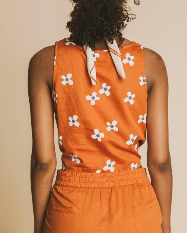 Crop top terracotta motif fleurs en coton - bambili - Thinking Mu num 3