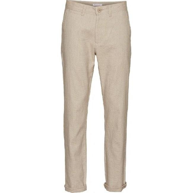Chino droit beige en coton et lin bio - chuck - Knowledge Cotton Apparel