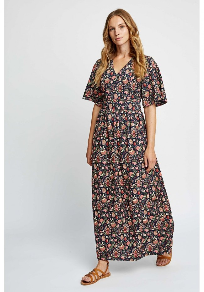 Robe longue imprimé floral en tencel - yasmin print maxi dress - People Tree num 1