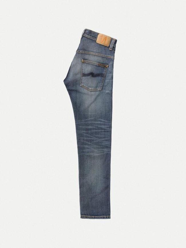 Jean bleu délavé en coton bio - thin finn blue temple - Nudie Jeans num 7