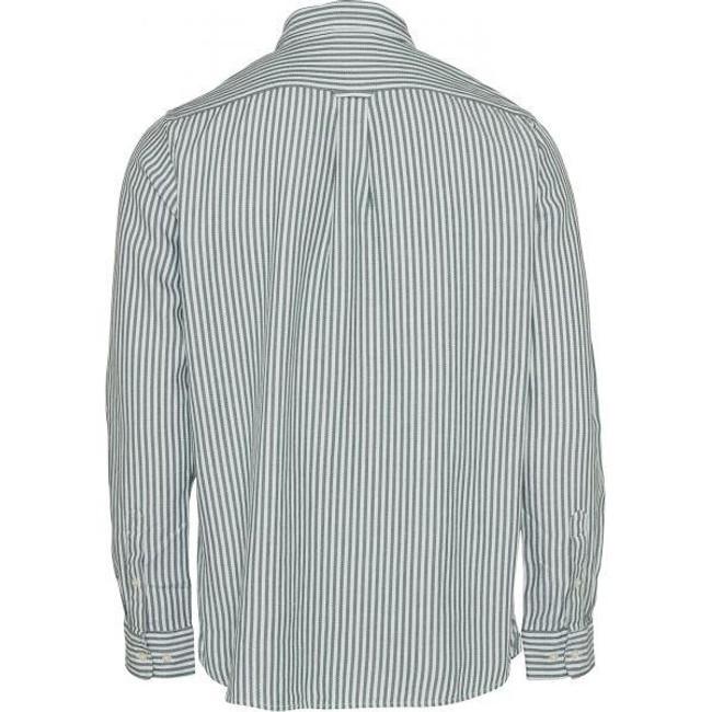 Chemise rayée vert en coton bio et tencel - stipped twill - Knowledge Cotton Apparel num 1