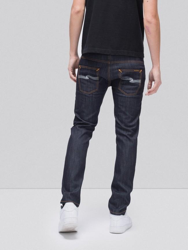 Jean slim brut en coton bio - thin finn dry ecru embo - Nudie Jeans num 1