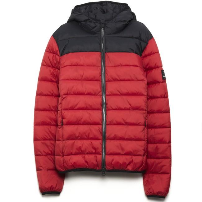 Doudoune à capuche bicolore rouge et noir en polyester recyclé - asp - Ecoalf num 4