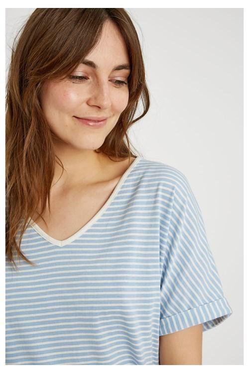 Haut de pyjama rayé bleu en coton bio - People Tree num 3