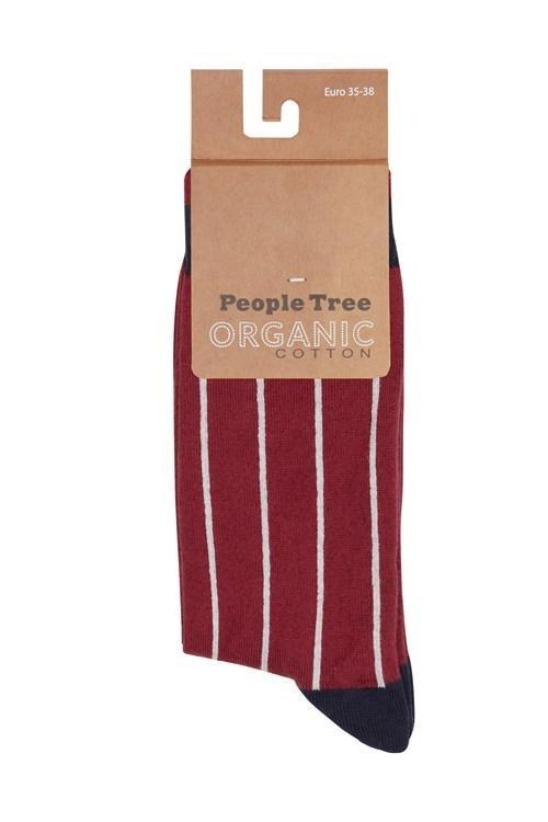 Chaussettes à rayures en coton bio - pinstripe - People Tree