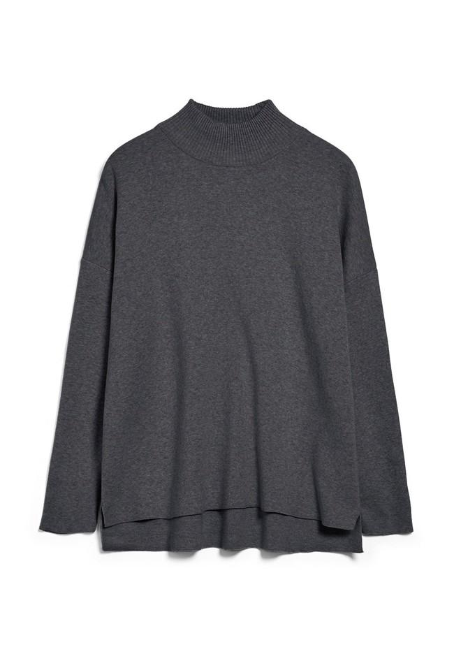 Pull ample à col cheminée gris en coton bio - yunaa - Armedangels num 4