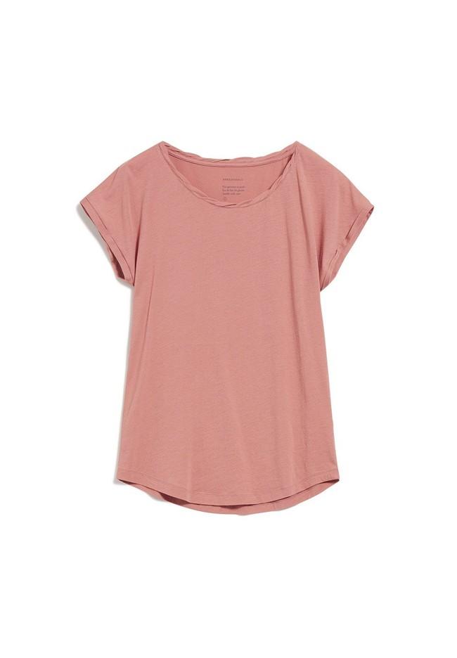 T-shirt uni rose pâle en coton bio - laale - Armedangels num 4
