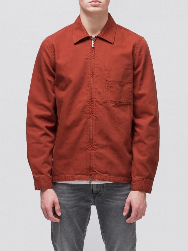 Veste zipée rouge en coton bio - sten zip - Nudie Jeans num 1