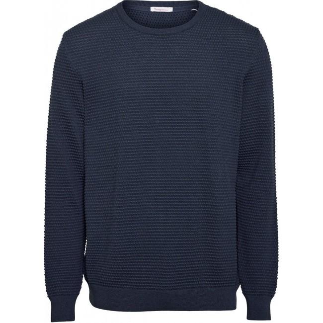 Pull bleu nuit en coton bio - field - Knowledge Cotton Apparel