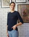 T-shirt zaza marine uni en 100% lin écologique - Aatise - 1