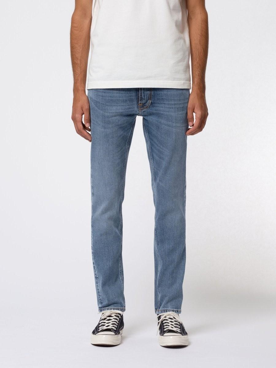 Jean slim bleu clair en coton bio - lean dean lost orange - Nudie Jeans