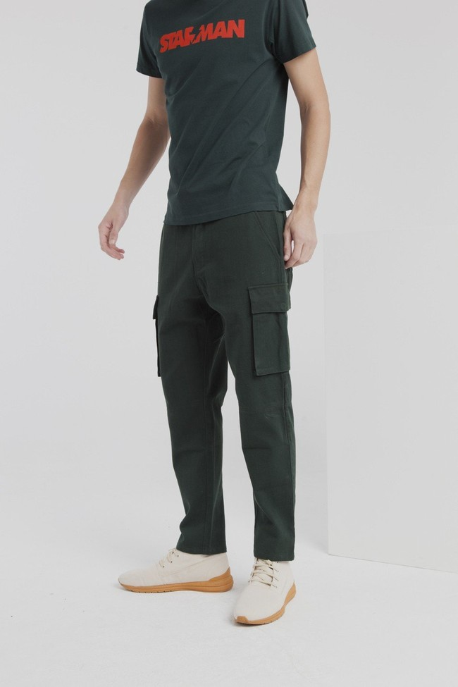 Pantalon cargo vert en coton bio - Thinking Mu num 1