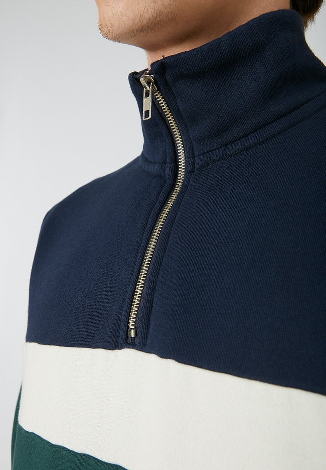 Sweat col zippé tricolore en coton biologique - raalph - Armedangels num 3