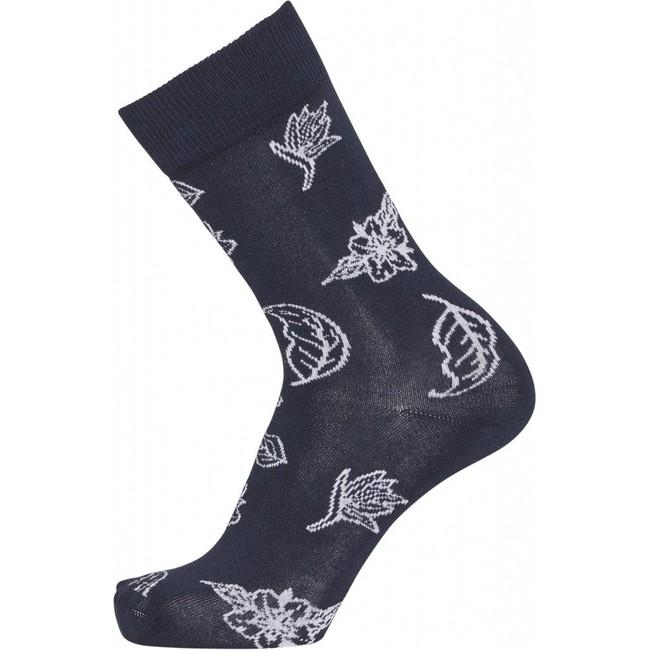 Pack 2 paires de chaussettes bleu nuit à motifs en coton bio - timber - Knowledge Cotton Apparel num 1