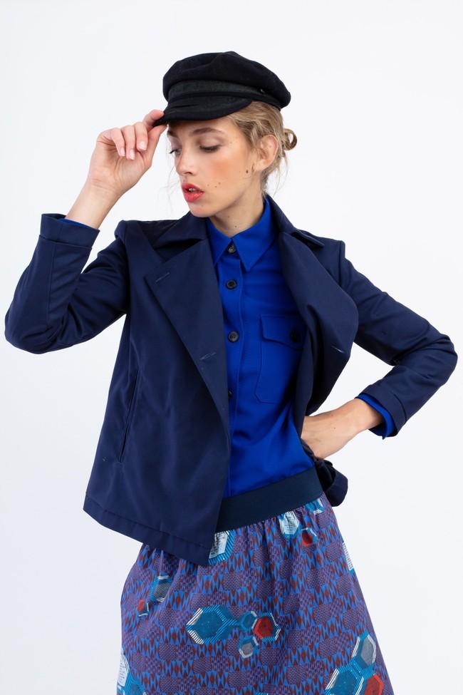 """Veste """"la redoutable"""" en coton upcyclé bleu marine - Bleu Tango num 2"""