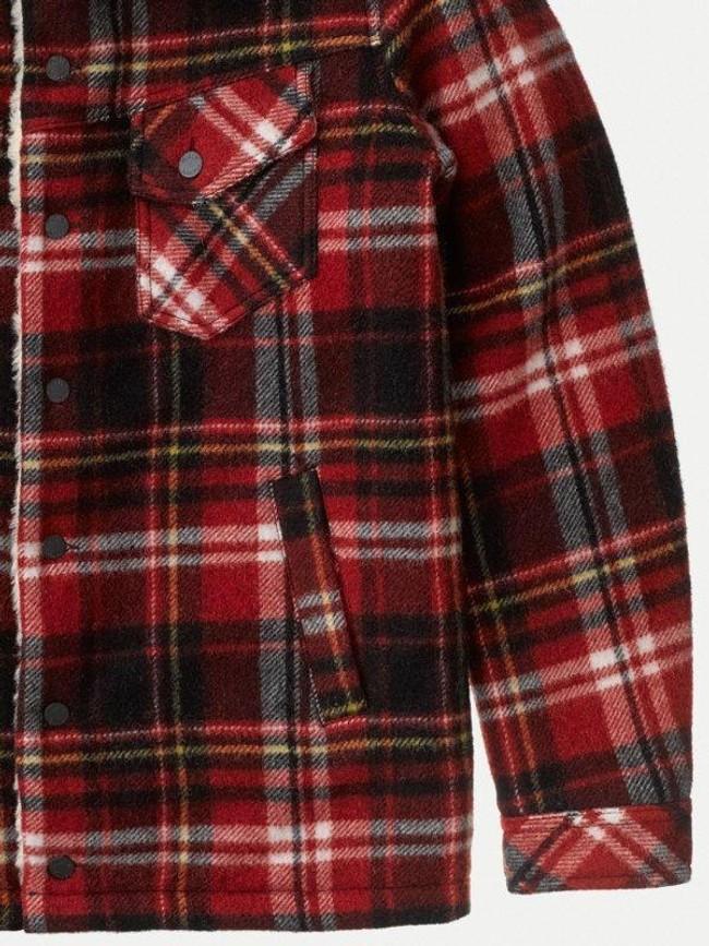 Veste sherpa carreaux rouge en laine recyclée - lenny - Nudie Jeans num 6