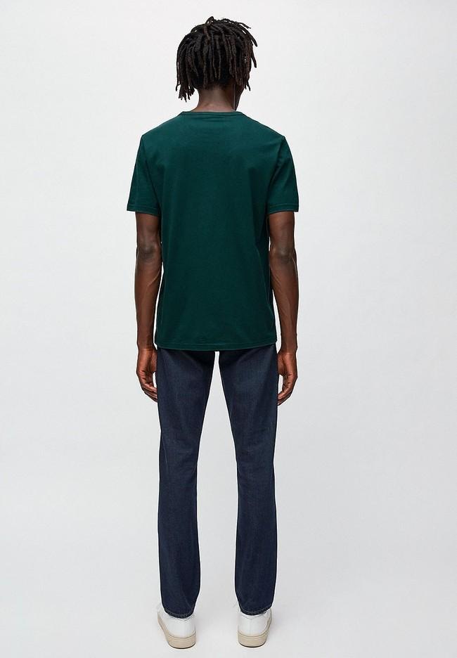 T-shirt vert foncé en coton bio - paul ping pong - Armedangels num 2
