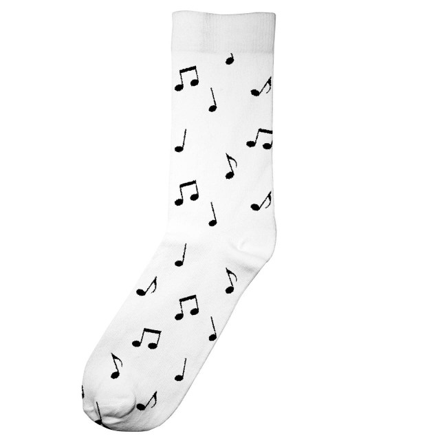 Chaussettes hautes blanches motifs notes en coton bio - Dedicated
